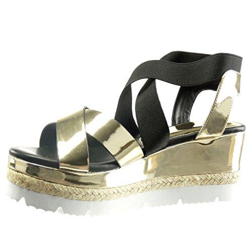 Angkorly - damen Schuhe Sandalen - sneaker Sohle - Plateauschuhe - glänzende - Seil Keilabsatz high heel 7.5 CM Gold