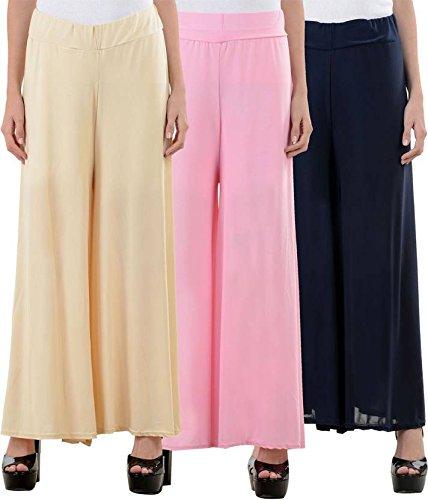 Lili Women's Malai Lycra Palazzo Pant Combo (Pack-3) Free Size-Skin,Baby Pink,Black