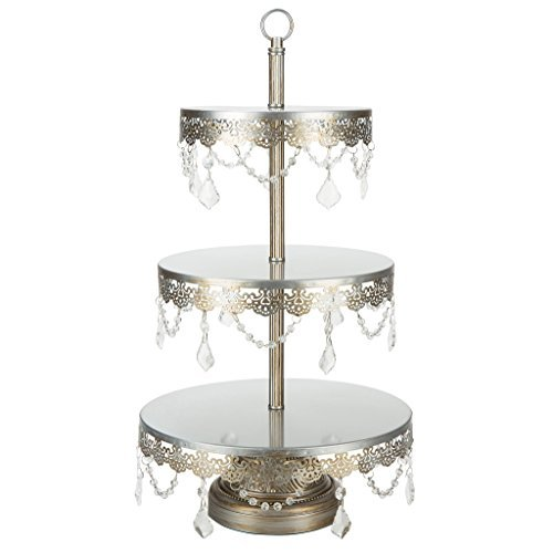 'Sophia Collection' 3 Tier Dessert Stand, Cupcake Tower with Crystal Beads and Dangles, 22 Tall (Silver) by Platinum Home Designs - Crystal Stand