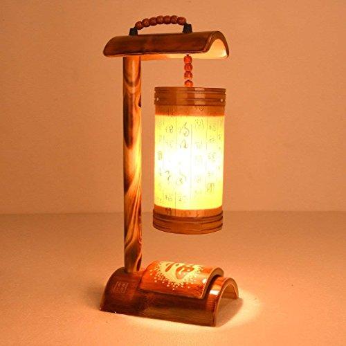 ZYCkeji Modern Schlafzimmer Nachttischlampe Retro Massivholz Tischlampe Bambus Kunst Antik Druck Geschnitzt Tischlampe Originalität (Kunst-druck 26)