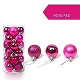 sunnymi 24pcs Weihnachten Weihnachtsbaum Dekoration Ball Christmas Balls Weihnachtskugeln hängende (3CM, Pink)
