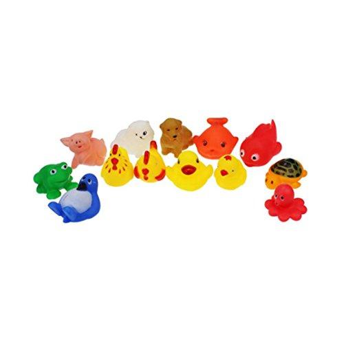 Badespielzeug, Gusspower 13PC Gummi Tiere mit Sound Baby Shower Party Favors Spielzeug Quietschende Enten Fisch Schildkröte Kind Spiel Spielzeug für Baden Sicherheit