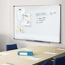 Office Marshal PRO Pizarra magnética (varios tamaños, uso profesional, superficie lacada, marco de aluminio), color blanco, blanco, 60 x 90 cm