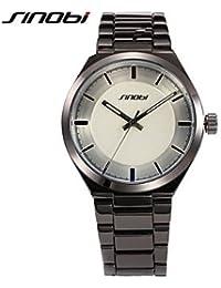 Relojes Hermosos, Vestido de los hombres SINOBI Relojes de pulsera de cuarzo de la batería del negocio del reloj negro de las aguas superficiales ronda de ( Color : Negro )