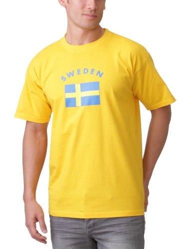 Coole-Fun-T-Shirts Herren SCHWEDEN T-SHIRT MIT FLAGGE, GELB, M