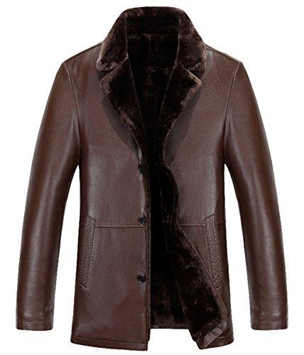 Hommes cuir Fourrure Épais chaud Cuir veste Entreprise Cuir Bouton Hiver manteau Marron