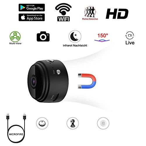 Mini-Kamera, Wireless WiFi Mini WLAN Überwachung Kamera Kindermädchen-Kamera mit Bewegungserkennung für iPhone/Android Phone/iPad (bis zu 128GB) 150° Videoüberwachung Dome Überwachungskamera