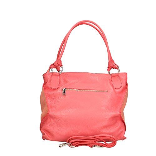 Chicca Borse Handbag Borsa a Mano in Vera Pelle Made in italy - 36x28x17 Cm Corallo