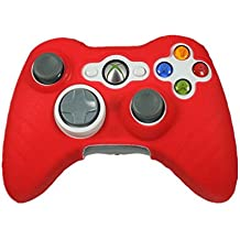 Microware Xbox 360 Silicone Wireless Controller Skin Protective Rubber Case Cover (Red)
