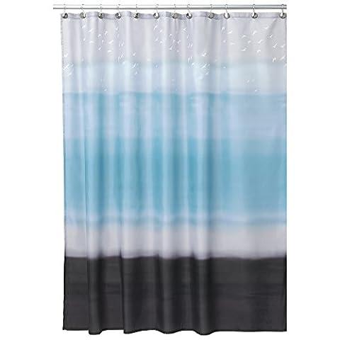 mDesign rideau de douche anti-moisissure – rideau de bain étanche – accessoire de salle de bain à 12 anneaux solides en métal pour une suspension facile – couleur : bleu / cacao 180 cm x 180 cm