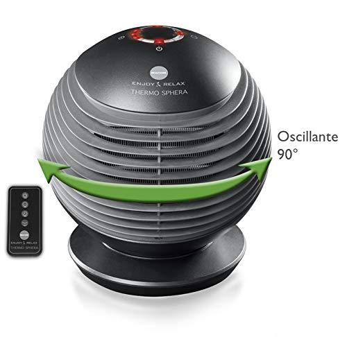 Macom Thermo Sphera Ventilador eléctrico Interior Negro 2000 W - Calefactor (Ventilador eléctrico, 90°, 6 h, Interior, Piso, Negro)