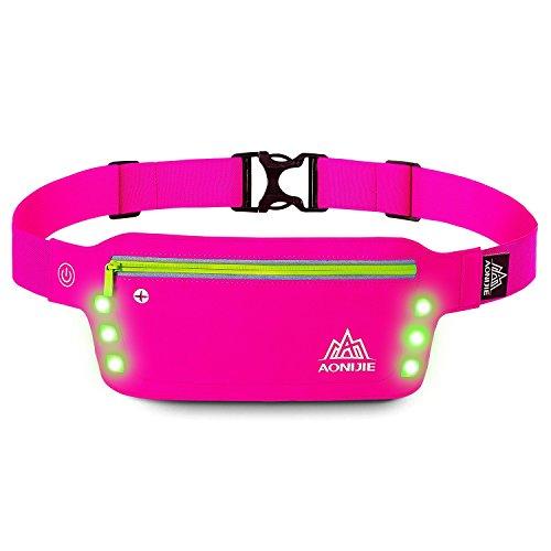 LERMX Wasserdichte reflektierende Sport Hüfttasche mit 2 BPA-freien Wasserflaschen und Reißverschluss-Taillen-Pack für Laufen, Wandern,...