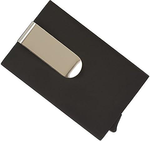 Kartenetui mit Geldklammer und RFID Schutz Kreditkartenetui aus Aluminium, Kunstleder und Pop-Up Funktion Mini Geldbörse mit Geldscheinklammer Geldbeutel Herren Geschenk