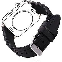 Correa para Watch Series 1 / 2, Bandmax Correa Deportiva 38mm de Silicona Negro Reemplazo de Band con Hebilla de Acero Inoxidable para Apple Watch 38mm Todos los Modelos (Negro)