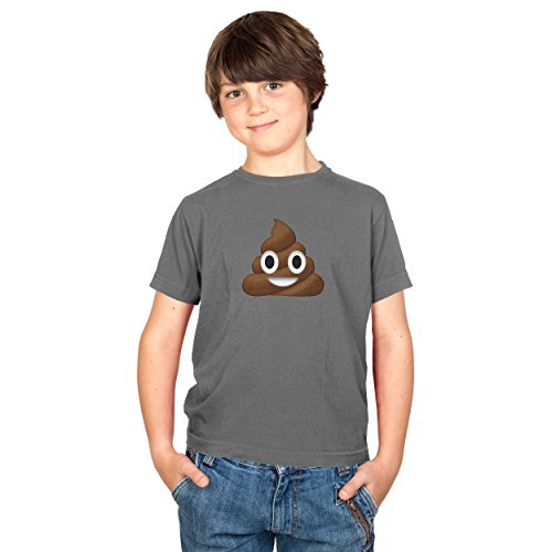 Preisvergleich Produktbild TEXLAB - Poo Emoji - Kinder T-Shirt, Größe S, grau