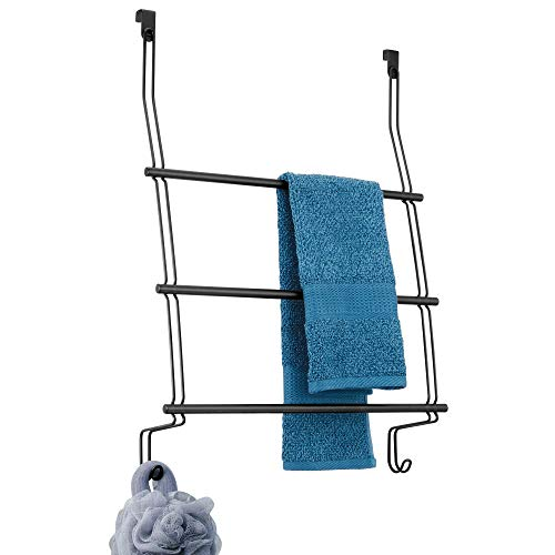 InterDesign 69112EU Classico Handtuchhalter zum Hängen über die Duschtür, mattschwarz