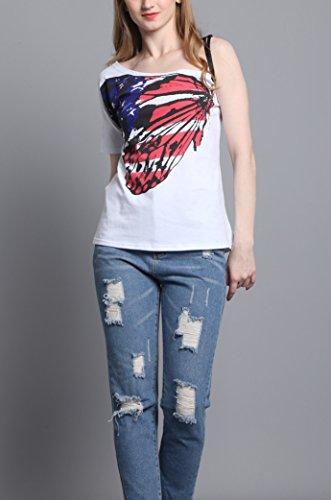 ... IHRKleid® Sommer Frauen Bluse Short Sleeve Tops T-Shirt kurze Ärmel  Schmetterlin Schulterfrei Unregelmäßige ...