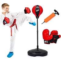Costzon - Saco de boxeo de pie y 2 guantes, altura ajustable