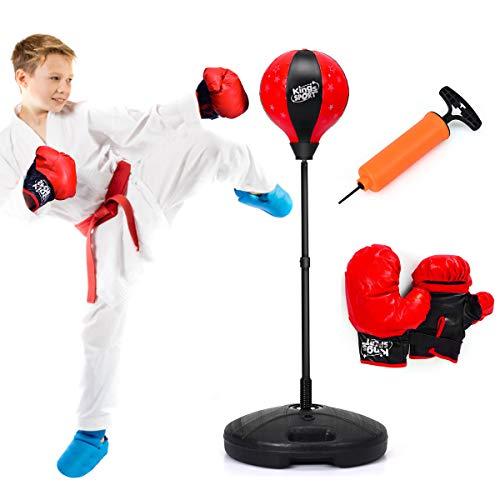 COSTWAY- Punchingball freistehend, Kinder Boxset, Boxsack Set höhenverstellbar, Box Set inkl. Boxhandschuhe und Handpumpe, Standboxsack für Kinder und Jugend