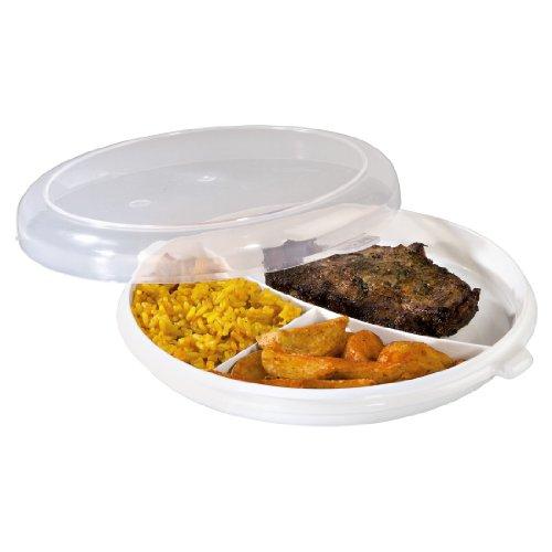 Xavax Mikrowellenteller-Set (mit Deckel zum Erhitzen, Einfrieren und Portionieren von Speisen, Mikrowellengeeignet, Spülmaschinengeeignet, Lebensmittelecht) 3-teiliges, transparent/weiß
