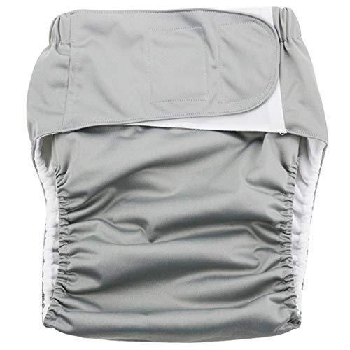 OOFAY Waschbare Tuch Windel Erwachsene Wasserdicht Undichten Klettverschluss Größe Verstellbare Altenpflege Hose Weibliche Menstruations Hose,Gray