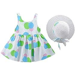 Niña Vestidos y Sombrero Bowknot Ropa de Playa Vestido de Lunares Princesa Vestidos de Bautizo Bebé Niñas Vestidos Sin Manga Verano Ropa de 12 Meses a 3 años Falda del Tanque