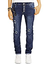 Bestyledberlin Damen Baggy Jeans, Relaxed Destroyed Denim Hose, Loose Fit Flicken-Jeans j31k