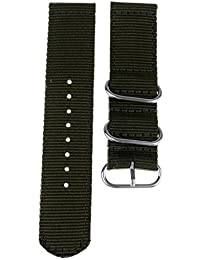 Phenovo Fabric Nylon Watch Strap Band Silver Buckle Replacement Belt 18mm 20mm 22mm