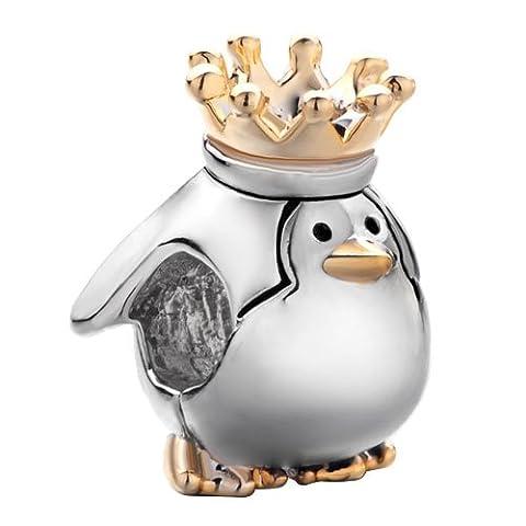 Fit Pandora Charms Pugster Breloque Pingouin avec couronne de roi Breloque Animaux convient aux Bracelets Pandora Chamilia Cadeau