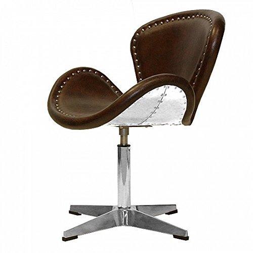 Vintage Echtleder Sessel Retro Ledersessel Braun Design Drehsessel Lounge Clubsessel Möbel NEU 437
