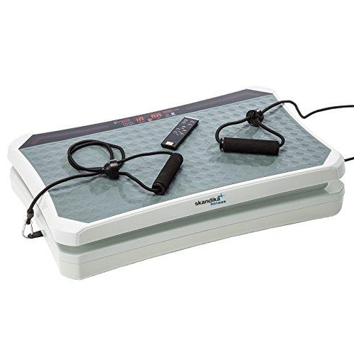skandika 900 Vibration Plate,SF-1740, designstarke Vibrationsplatte mit starkem 200 Watt DC Motor 18 Geschwindigkeitsstufen, mit LC Bildschirm, Fernbedienung und verstellbaren Trainingsgurten, weiß