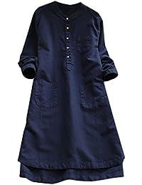 1933d1ab29f6 Cinnamou Vestidos Casuales de Lino Blusa de Manga Larga de Las Mujeres  Ocasionales de Manga Larga