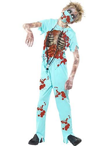 costumebakery - Jungen Kinder Kostüm Horror Arzt Chirug Doktor mit Hose Oberteil Mundschutz und Stethoskop, Zombie Doctor, perfekt für Halloween Karneval und Fasching, 122-134, Türkis