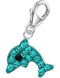 Colgante de delfín de cristal para pulsera de abalorios, plata de ley 925, niña, delfín