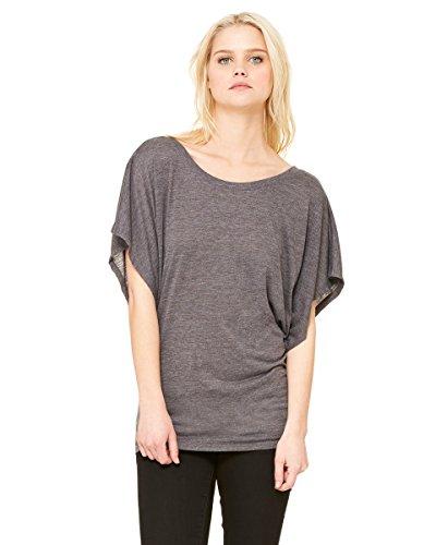 Bella+Canvas: Flowy Draped Sleeve Dolman T-Shirt 8821 Grau - Dark Grey Heather