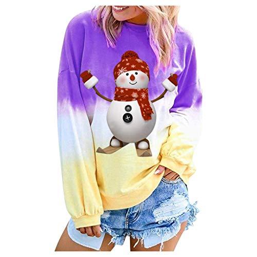 Auiyut Damen Sweatshirts Casual Tops Farbverlauf Weihnachten Bluse Nettes Schneemann Gedruckt Shirts Frauen Mode Streetwear Neuheit Pullover 2019 Winter Unterhemd