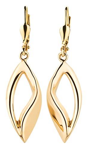 Ardeo Aurum Damen Hänge-Ohrringe aus 333 Gold Gelbgold Brisuren Hänger ohne Stein hochglanz-poliert oval Tropfen länglich