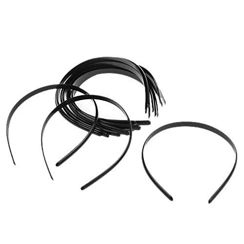 OULII femme Uni No dents en plastique à élastiques Headwears Lot de 12 serre-têtes (Noir)
