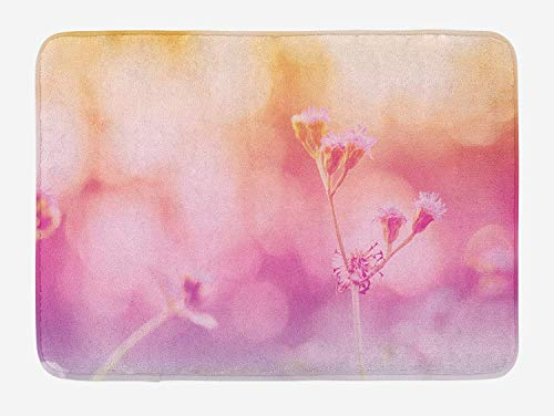 CHKWYN Dusty Rose Bath Mat, Dreamy Romantic Thailand Nature Flowers Stem Soft Seasonal Meadow, Plush Bathroom Decor Mat with Non Slip Backing, 23.6 W X 15.7 W Inches, Pale Orange Pink Violet Dusty Rose Bowl