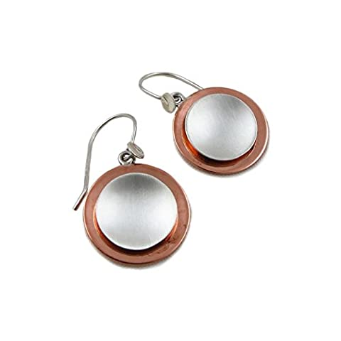 Solid 925 Silver and Copper Two Tone Circle Disc Drop Earrings