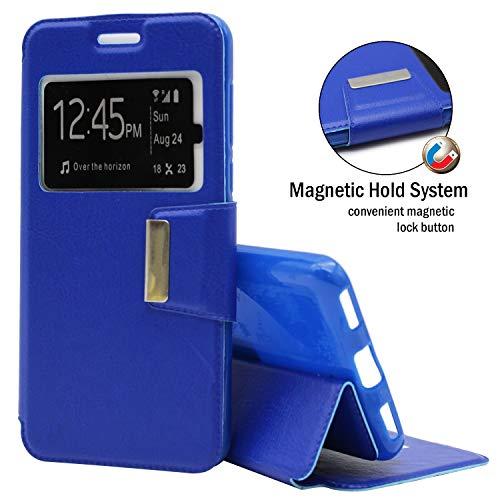 EUYBOX - LG Zero (H650E) Hülle Handyhülle Taschen Buch-Magnet-Sportansicht - Blau