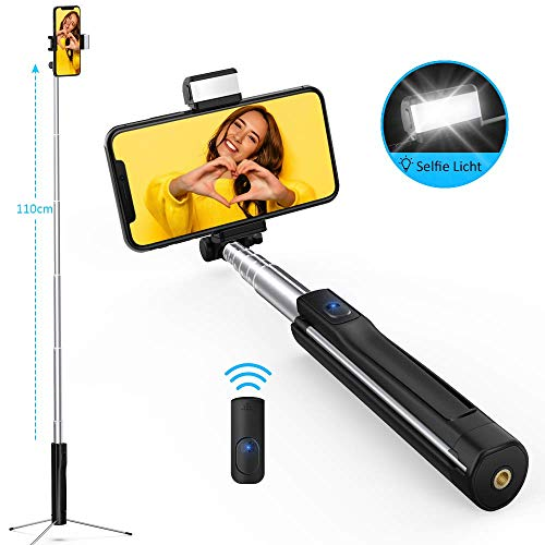 LUXSURE Bluetooth Selfie Stick mit Selfie Licht, Stativ und Fernbedienung 360° Rotation Selfie-Stangen für iPhone XS Max X XR 8 7 Plus Samsung Galaxy S10+ S10 S9 S8 S7 alle Android Smartphones 110cm