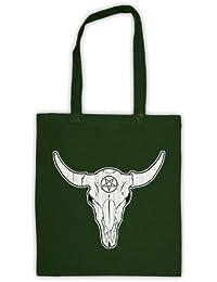 Buffalo Skull Illustration Bolsa de Asas, Verde Oscuro