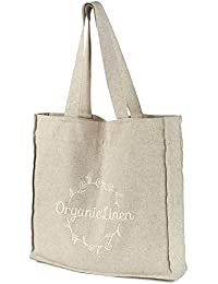 Linen Tote Handbag With Embroidery - EcoFriendly Reusable Bag For Groceries, Shopping, Beach, Travel, School And...