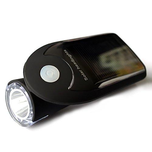 Wiederaufladbares Solar-Fahrradlicht mit USB-Anschluss, 240 Lumen, LED-Fahrradscheinwerfer, wasserdicht, mit um 360 Grad schwenkbarer Leuchte, Farbe: Schwarz (Cateye Rücklicht-halterung)