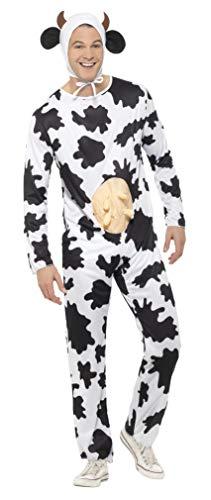 Kuh Euter Kostüm - Smiffys Unisex Kuh Kostüm, Jumpsuit mit Euter und Kopfteil, Größe: One Size, 29115