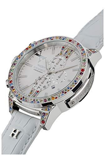 HÆMMER Spring Damenuhr aus Edelstahl   Exklusiv Limitierte Damen-Uhr mit weißem Kalbsleder Armband   Luxus-Uhr mit bunten Swarovski-Kristallen