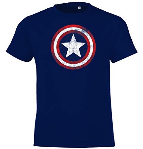 Kinder T-Shirt Modell Vintage Captain America, Gr. 96/104 (4 Jahre), Navyblau - Vintage Shirt Spiderman