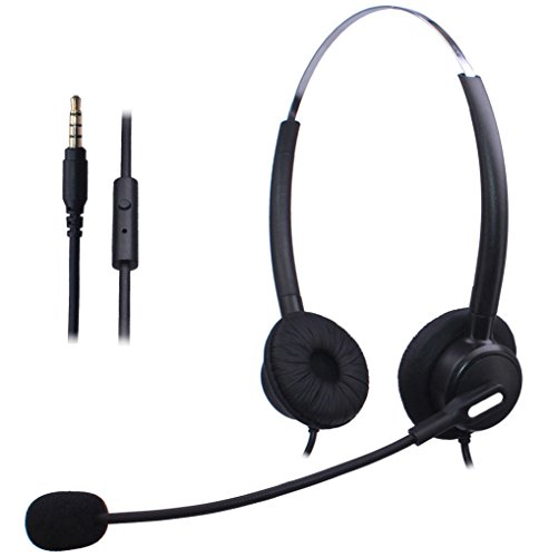 Wantek Mobiltelefon Headset Wired mit Flexible Noise Cancelling Mikrofon + Einstellbar Stirnband für iPhone Samsung HTC LG Blackberry Handy & Die meisten Android Telefone mit 3,5mm Klinke(120B01J35) Blackberry Wired Headset