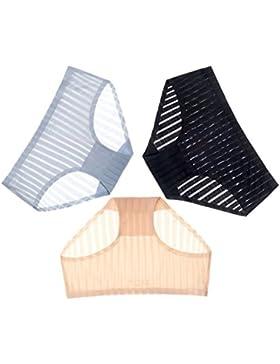 POKWAI Mujer 3 Pack Sexy Tentación Lencería Sección Delgada De Hilo De Hielo Traceless Damas Underwear Calzoncillos